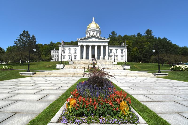 Vermont capital building in Montpelier. Centered capital building with flowers royalty free stock photos