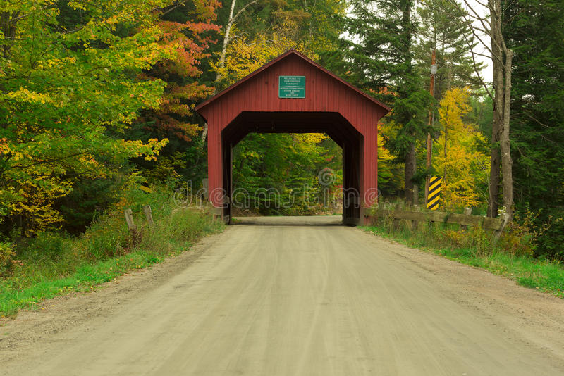 Vermont covered bridge in fall stock images