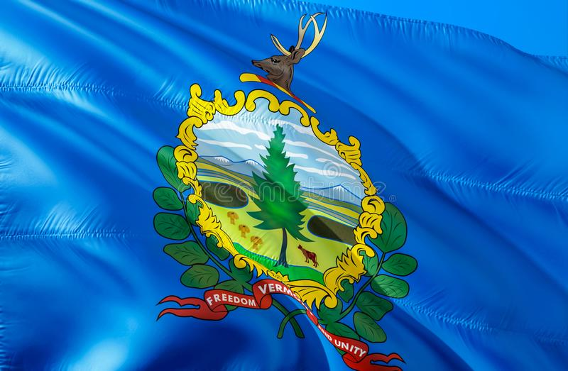 Vermont flag. 3D Waving USA state flag design. The national US symbol of Vermont state, 3D rendering. National colors and National. Flag of Vermont for a stock image