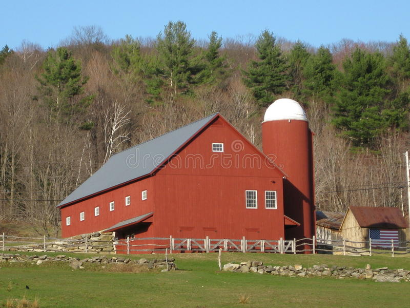Download Vermont Red Barn stock image. Image of domed, silo, white - 13874611