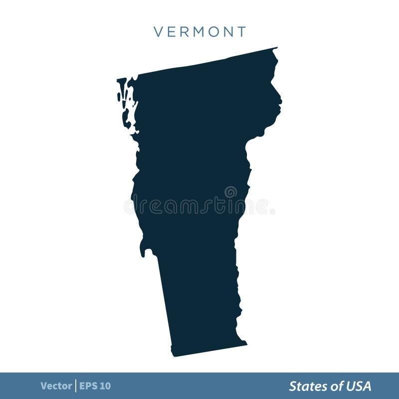 Vermont - Staten van van het de Kaartpictogram van de V.S. Ontwerp van de het Malplaatjeillustratie het Vector een Editable Vecto vector illustratie