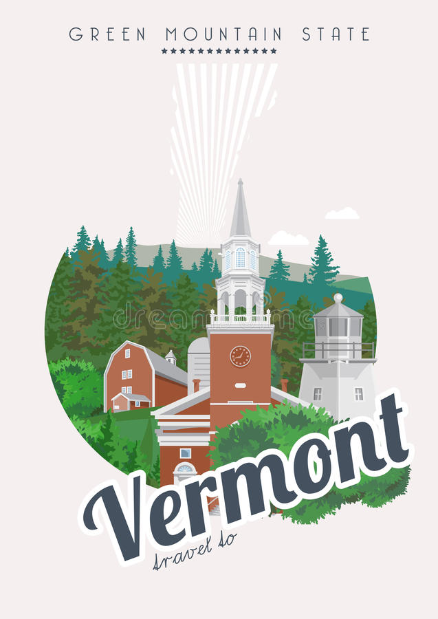 Vermont vector american poster. USA travel illustration. United States of America card. City view vector illustration