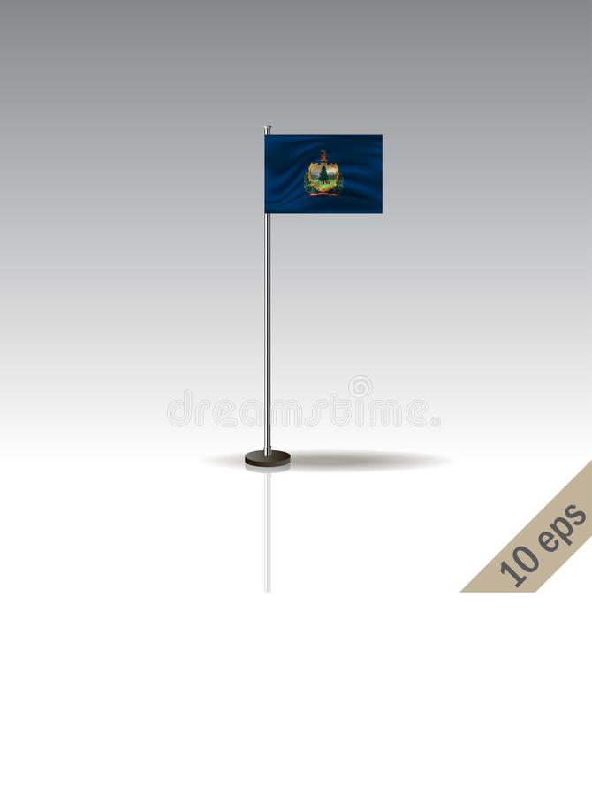 Vermont vector flag template. Waving Vermont flag on a metallic pole, isolated on a gray background royalty free illustration