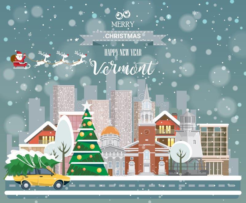 Vermont, vrolijke Kerstmis en een gelukkig Nieuwjaar! royalty-vrije illustratie