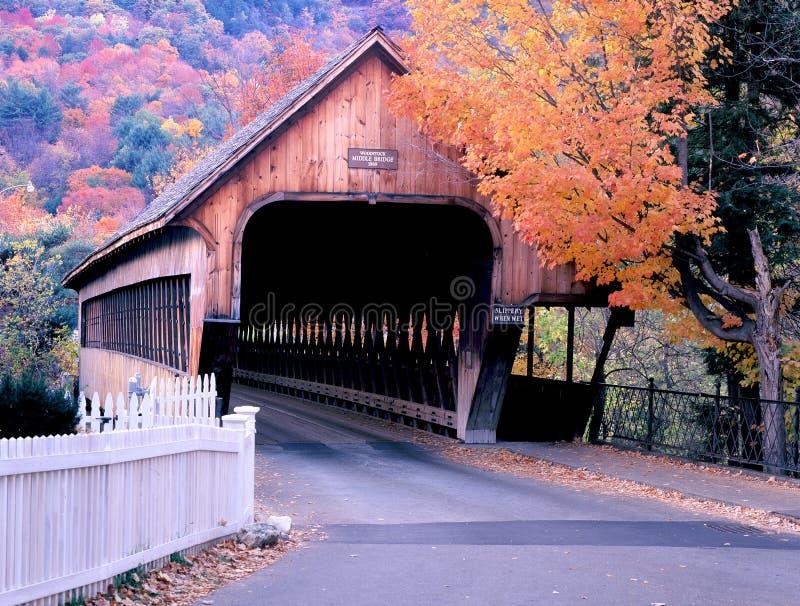 Vermont Woodstock täckt bro i höst royaltyfri fotografi