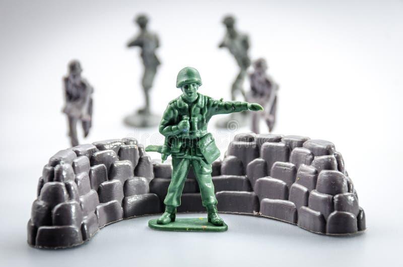 Vermoord van mini plastic Militairstuk speelgoed royalty-vrije stock foto