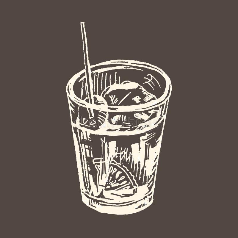 Vermouth, ap?ritif espagnol traditionnel Illustration tir?e par la main de vecteur Dessin de croquis, craie blanche sur le tablea illustration libre de droits