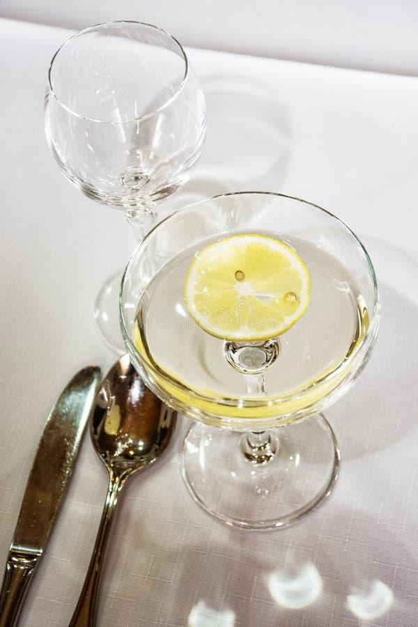 Vermut con il limone per la festa di compleanno immagini stock