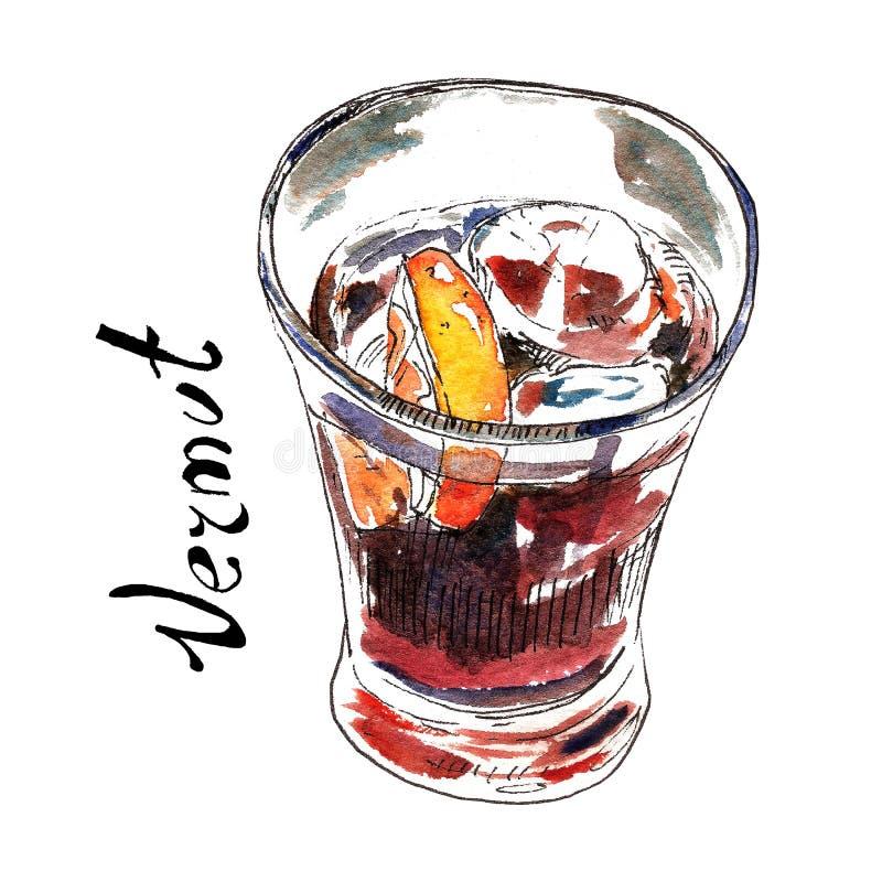 Vermut nell'illustrazione di vetro dell'acquerello Bevanda spagnola tradizionale dell'aperitivo Isolato su bianco royalty illustrazione gratis
