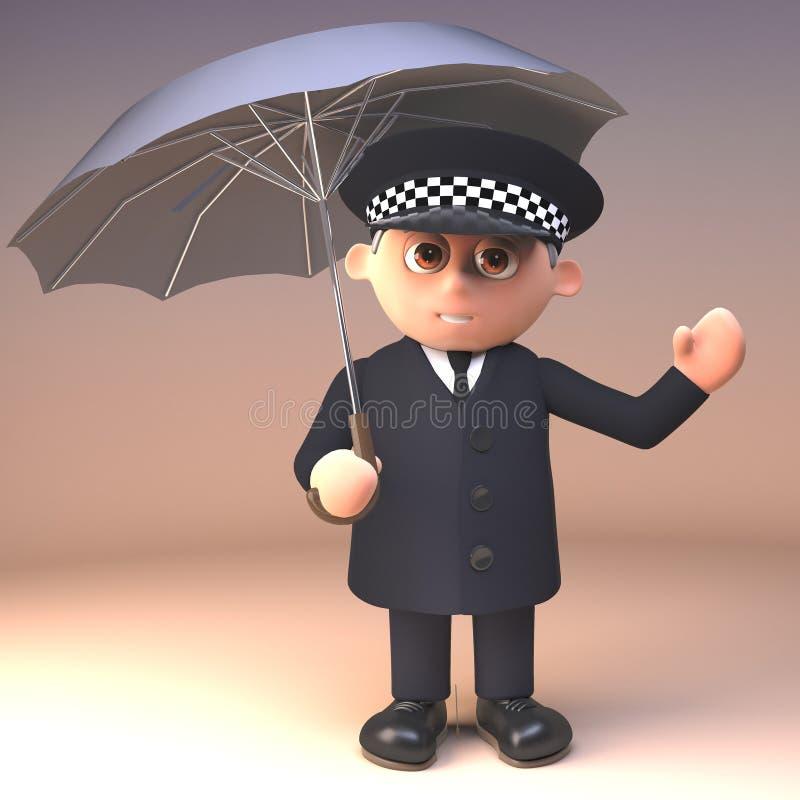 Vernünftiger Polizistpolizeibeamte in 3d, das vom Regen unter einem Regenschirm, Illustration 3d sherltering ist lizenzfreie abbildung