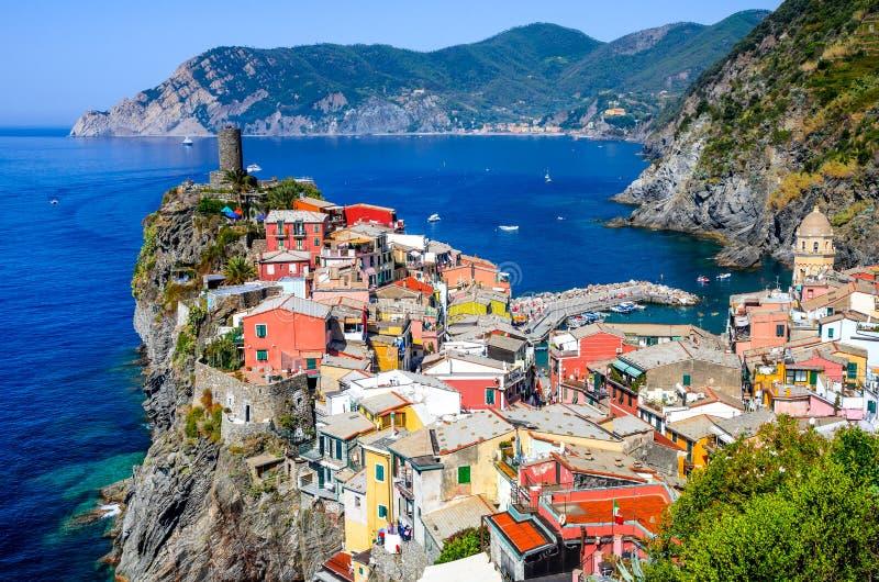 Vernazza, Cinque Terre. Cinque Terre, Italy. Scenic view of colorful village Vernazza and Mediterranean Se coast in Liguria, italian landmark stock photo