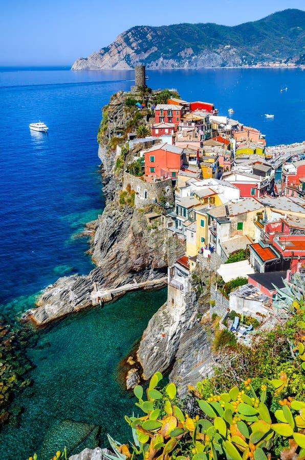Vernazza, Cinque Terre. Cinque Terre, Italy. Scenic view of colorful village Vernazza and Mediterranean Se coast in Liguria, italian landmark stock image