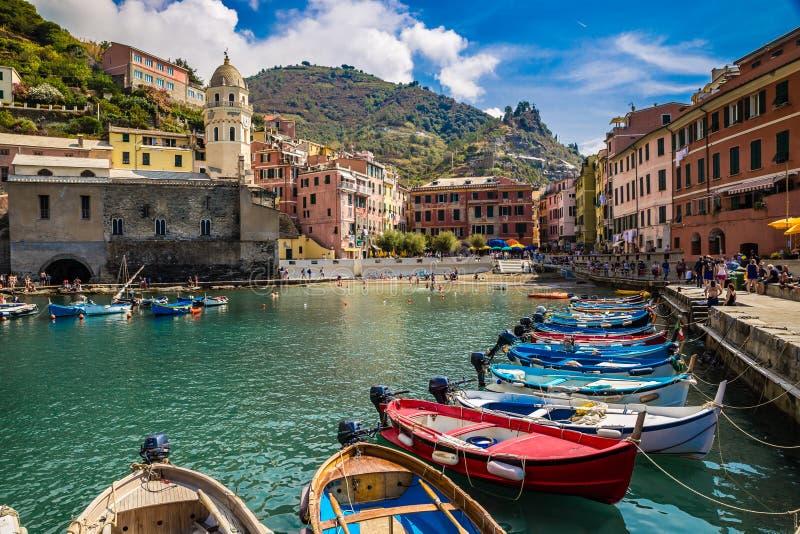 Vernazza, Cinque Terre, La Spezia, Liguria, Itália imagem de stock