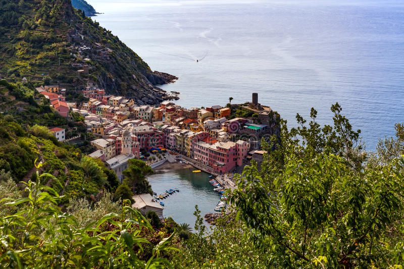 Vernazza in Cinque Terre National Park on Italian Riviera. Vernazza, one of five villages in Cinque Terre National Park and is a UNESCO World Heritage Site on royalty free stock photography