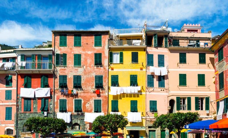 Vernazza em Cinque Terre, Liguria, Itália fotografia de stock