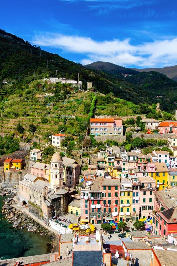 Vernazza em Cinque Terre, Liguria, Itália imagens de stock