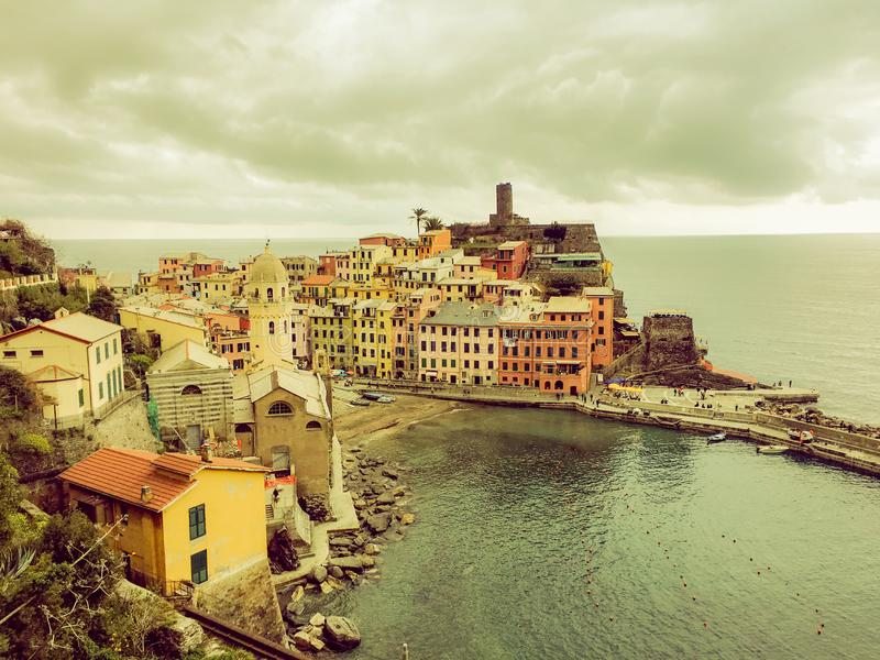 Vernazza Italy with cloudy sky background. Aerial view of Vernazza fishing village , seascape in Five lands, Cinque Terre National royalty free stock images