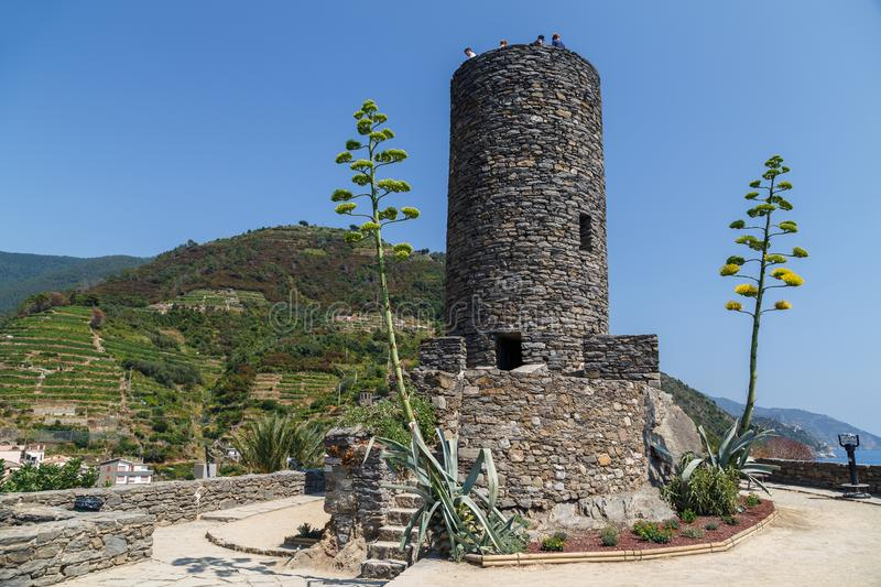 Watch tower of the medieval castle in Vernazza, Italy royalty free stock photography
