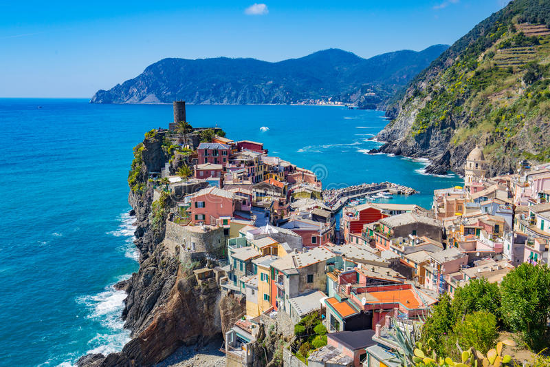 Vernazza no La Spezia, Itália imagem de stock