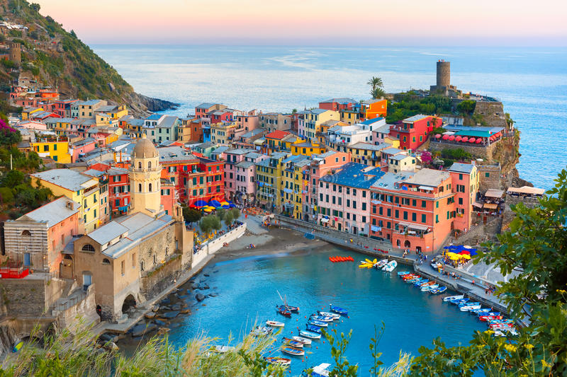 Vernazza at sunset, Cinque Terre, Liguria, Italy. Aerial view of Vernazza fishing village at sunset, seascape in Five lands, Cinque Terre National Park, Liguria stock images