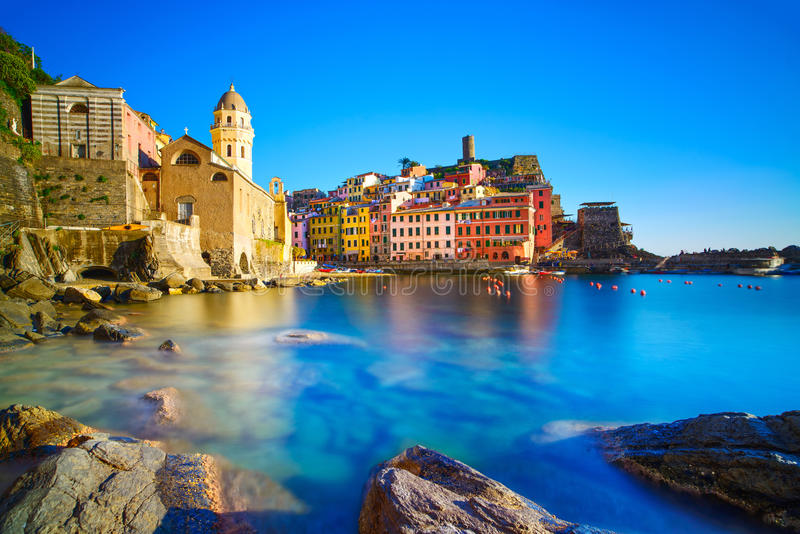 Download Vernazza Village, Curch, Rocks And Sea Harbor On Sunset. Cinque Stock Photo - Image: 40059883