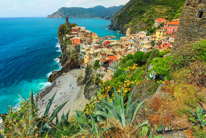Vernazza wioska na Cinque Terre zdjęcie royalty free