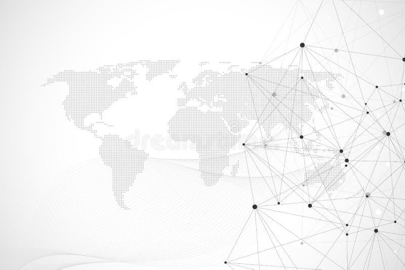 Vernetzung schließen Technologieabstrakten begriff an Verbindungen des globalen Netzwerks mit Punkten und Linien stock abbildung
