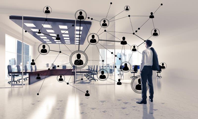 Vernetzung und Sozialkommunikationskonzept als effektiver Punkt f stockbilder
