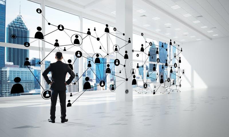 Vernetzung und Sozialkommunikationskonzept als effektiver Punkt f?r modernes Gesch?ft stockfotografie