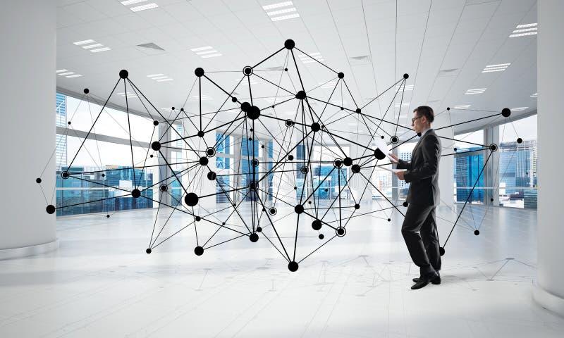 Vernetzung und Sozialkommunikationskonzept als effektiver Punkt f?r modernes Gesch?ft stockfoto