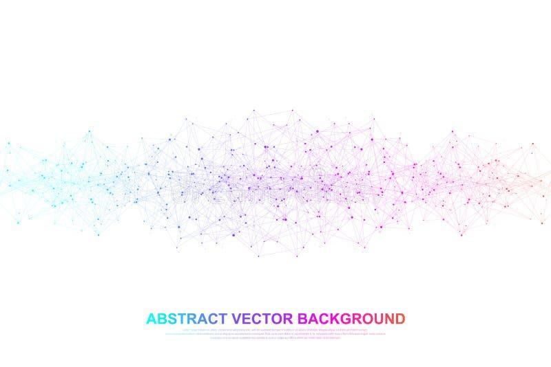 Vernetzungsverbindungskonzept-Zusammenfassungstechnologie Verbindungen des globalen Netzwerks mit Punkten und Linien Große Daten lizenzfreie abbildung