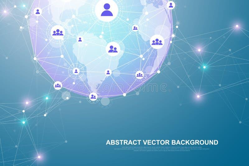 Vernetzungsverbindungskonzept-Zusammenfassungstechnologie Verbindungen des globalen Netzwerks mit Punkten und Linien Gro?e Daten vektor abbildung