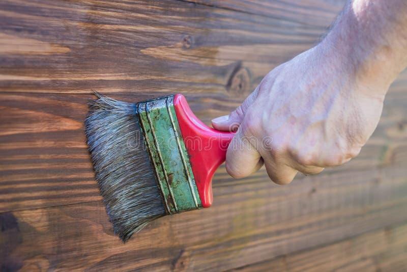 Vernice di verniciatura su legno - verniciando superficie di legno - fotografie stock libere da diritti