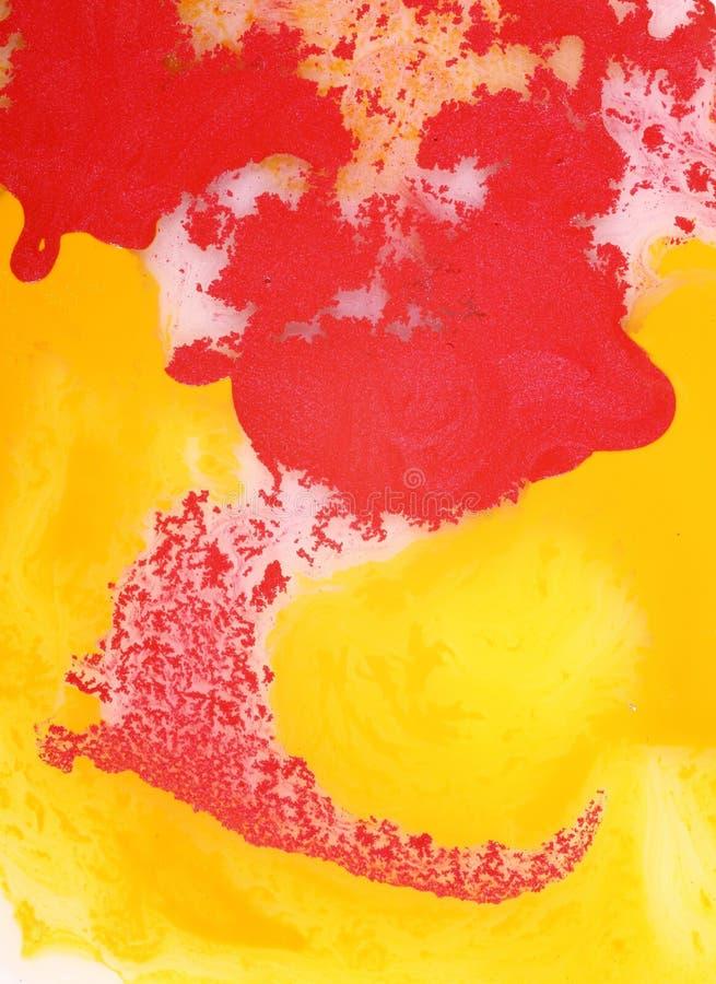 Vernice rossa e gialla astratta fotografia stock libera da diritti