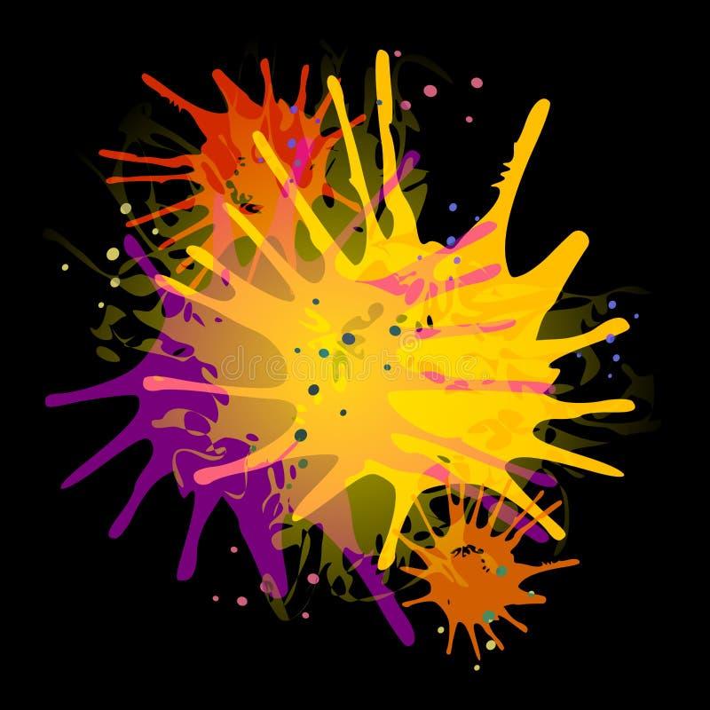 Vernici gli Splatters sul nero illustrazione vettoriale