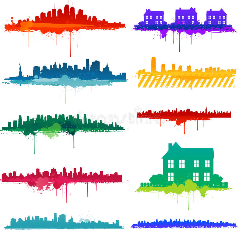 Vernici il disegno della città dello splat illustrazione vettoriale