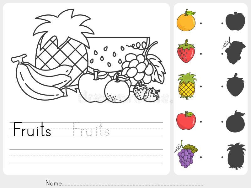Verniciatura e partita di frutti con le ombre royalty illustrazione gratis