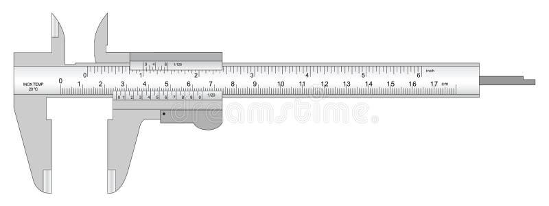 Vernier caliper. Steel precision instrument vernier caliper for measurement royalty free illustration
