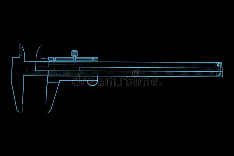 Vernier caliper. (3D x-ray blue transparent isolated on black royalty free illustration