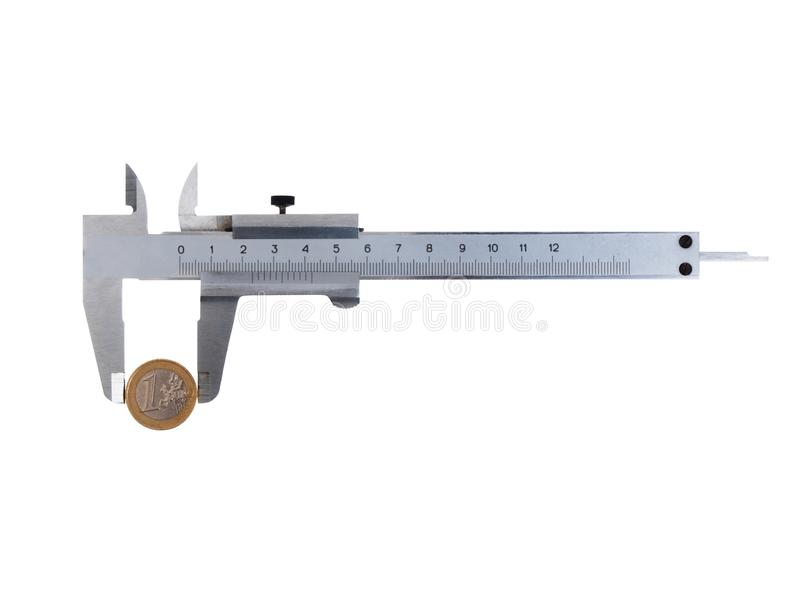Vernier caliper with a coin. Isolated vernier caliper with a euro coin on white background stock image