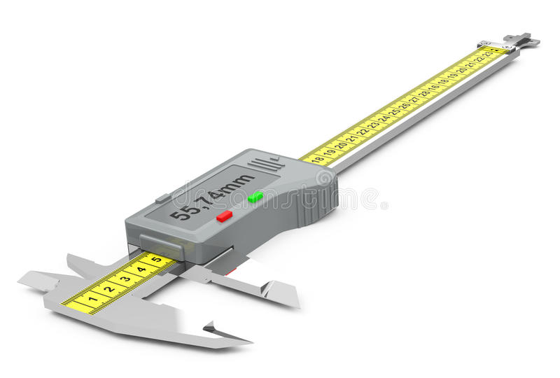 The vernier caliper. 3d generated picture of a vernier caliper vector illustration