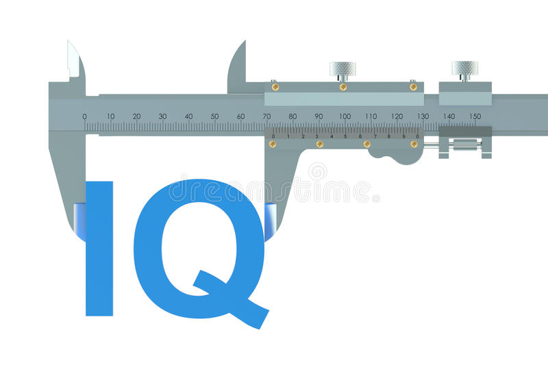 Vernier caliper with IQ. On white background royalty free illustration