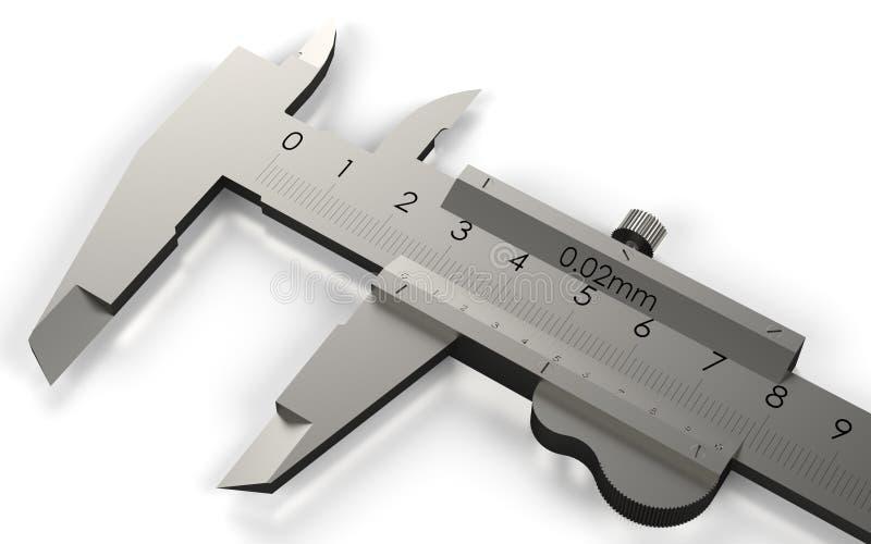 Vernier caliper. Metal equipment engineering work measurement tools. 3D rendering stock illustration
