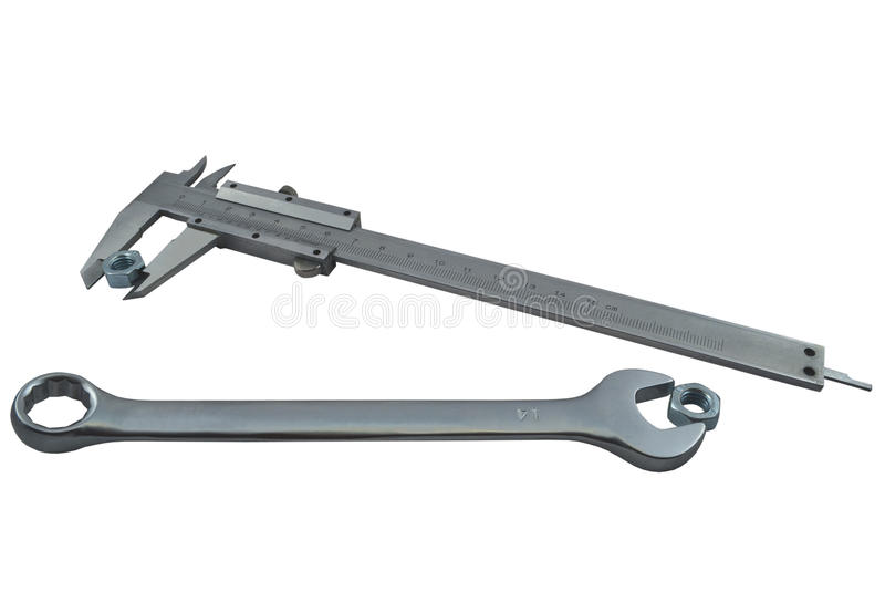 Download Vernier Caliper And Spanner Royalty Free Stock Photos - Image: 14012808
