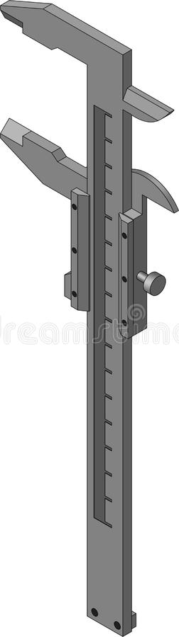 Vernier caliper. Measuring tool, isometric image vector illustration