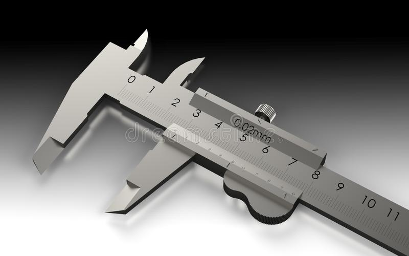 Vernier caliper. Metal equipment engineering work measurement tools. 3D rendering royalty free illustration