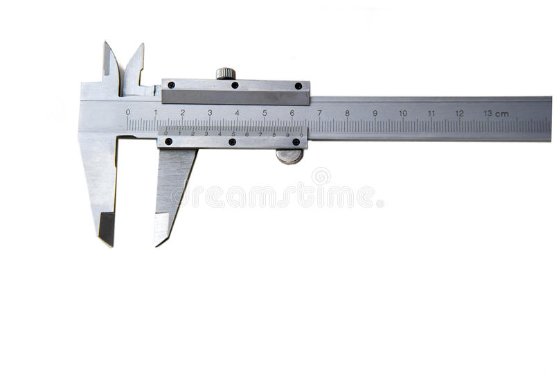 The vernier calipers. On white background stock images