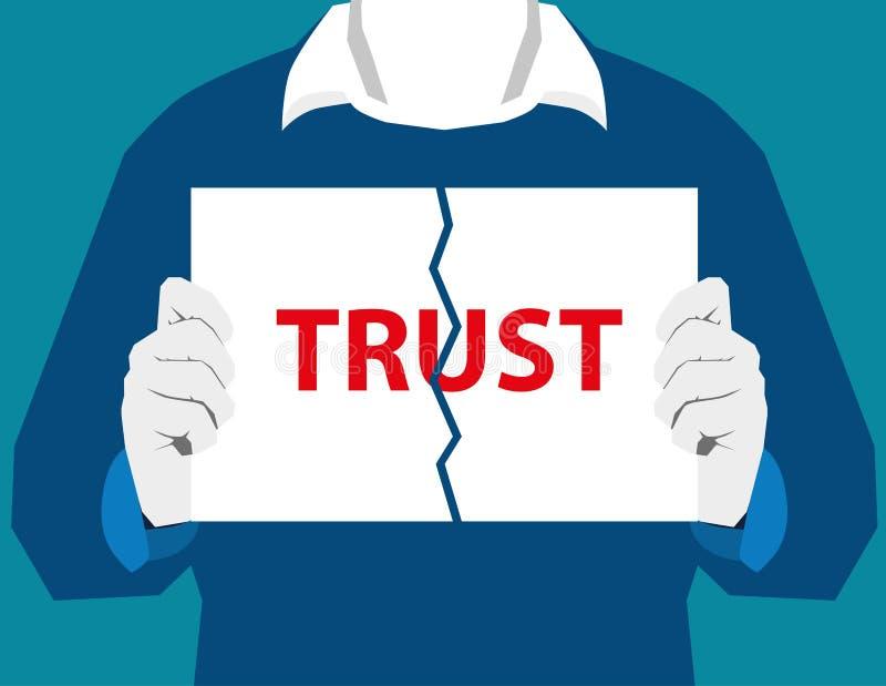 Vernietig het vertrouwen van de vertrouwensscheiding vernietigen verhoudingen relatie royalty-vrije illustratie