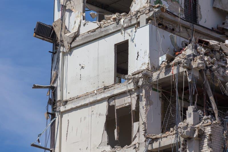 Vernietigd huis vóór wederopbouw stock foto's