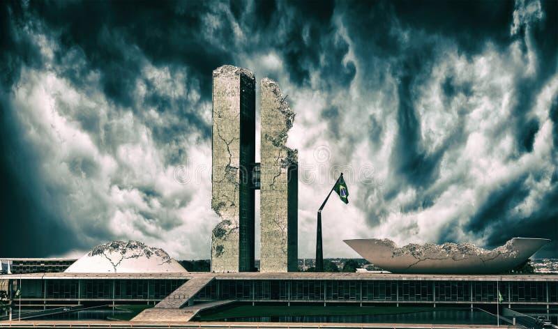 Vernietigde Brasilia | Congres de bouw van de Braziliaan in ruïnes stock foto